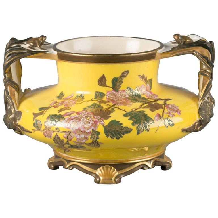 English Porcelain Yellow Ground Japonesque Vase Royal Worcester