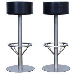 Zeus Noto Designer Leather Barstool Set Chair Black Modern Swiss Air Lounge