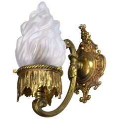 Cast Brass Beaux Arts Sconce with Flame Shade