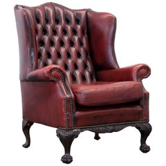 Chesterfield Leather Wingchair in Oxblood Red, One Seat Vintage, Retro