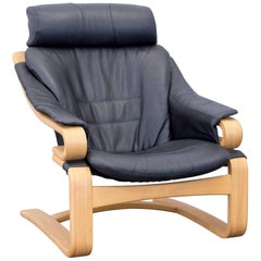 Skippers Furniture Apollo Leather Armchair Black Cantilever Chair Wood