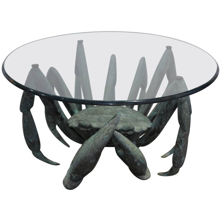 Bronze Crab-Form Sculpture with Round Glass Top as a Cocktail Table