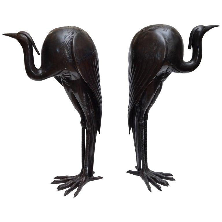 Solid Bronze Fountain Heron Sculptures, Pair