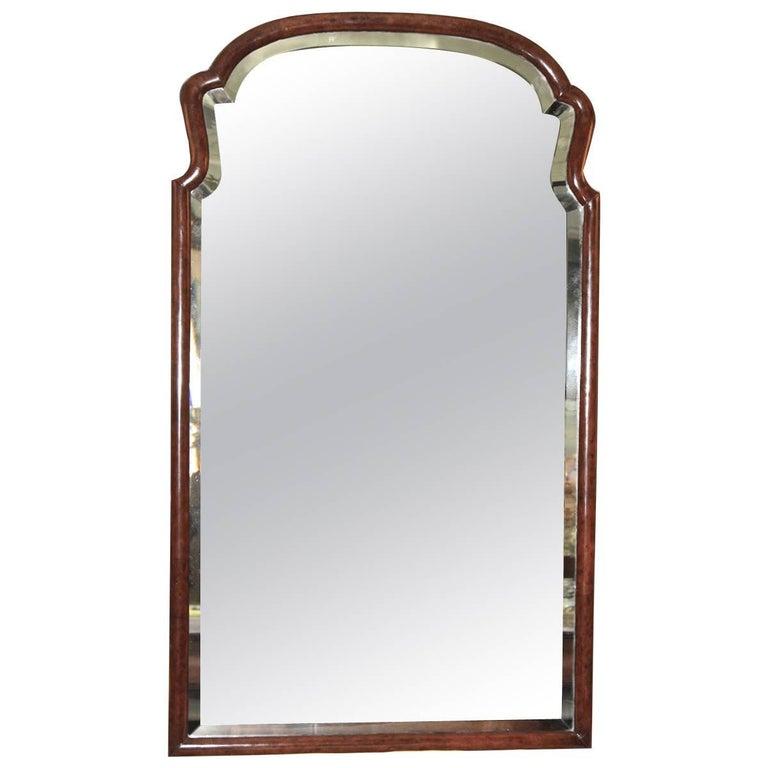 Queen Anne Revival Burl Walnut Pier Mirror