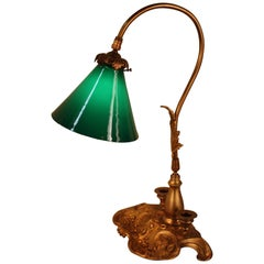Early 20th Century Bronze and Case Glass Desk Lamp