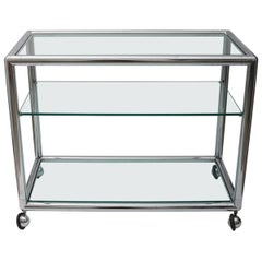 Three-Tiered Polished Chrome and Glass Bar Cart, Attributed to Pace Furniture