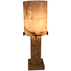 Italian Alabaster Table Lamp with Theatrical Carving