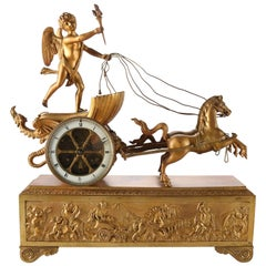 Antique French Empire Napoleon III Figural Gilt Bronze Mantel Clock