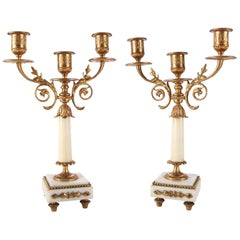 Pair of Antique French Classical Gilt Bronze and Marble Three-Light Candelabra