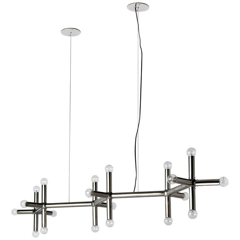 Mid Century Modern Linear Chandelier By Robert Haussmann For Remains Lighting