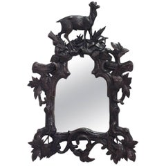 Rustic Black Forest '19th Century' Walnut Wall Mirror