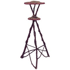 American Rustic Adirondack Style Willow & Bent Twig Design 3 Legged Pedestal