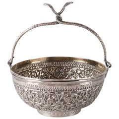 Antique Indian .800 Silver Repousse Basket with Intertwined Cobra Handles