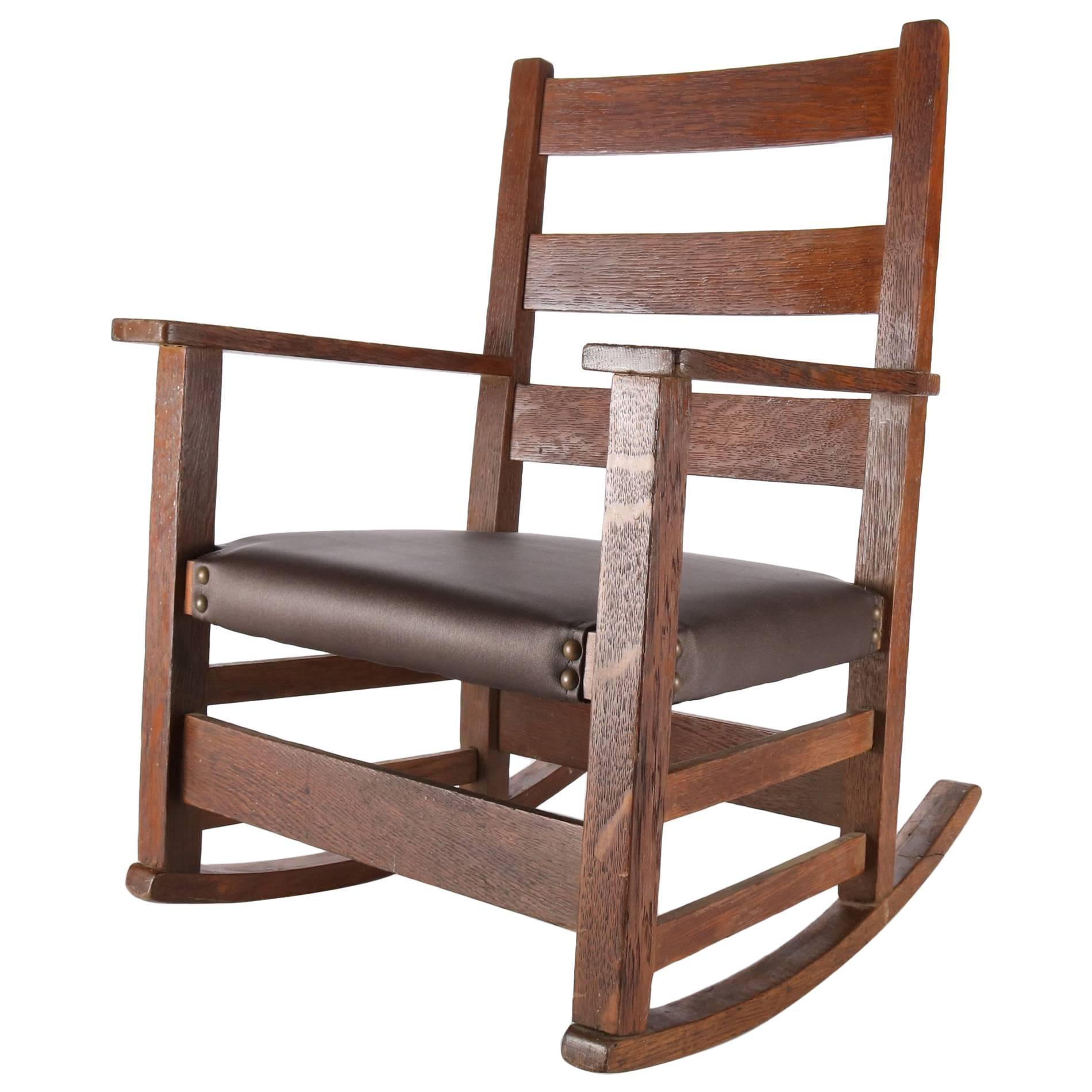 Antique Gustav Stickley Arts U0026amp; Crafts Mission Oak Childu0027s Rocker, ...