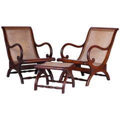 Pair of British Colonia Caned Chairs with Matching Ottoman