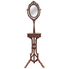 Rustic Black Forest '19th Century' Carved Walnut Shaving Mirror