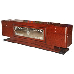 Exceptional Credenza,  French Art Deco Mahogany Speckled Sideboard