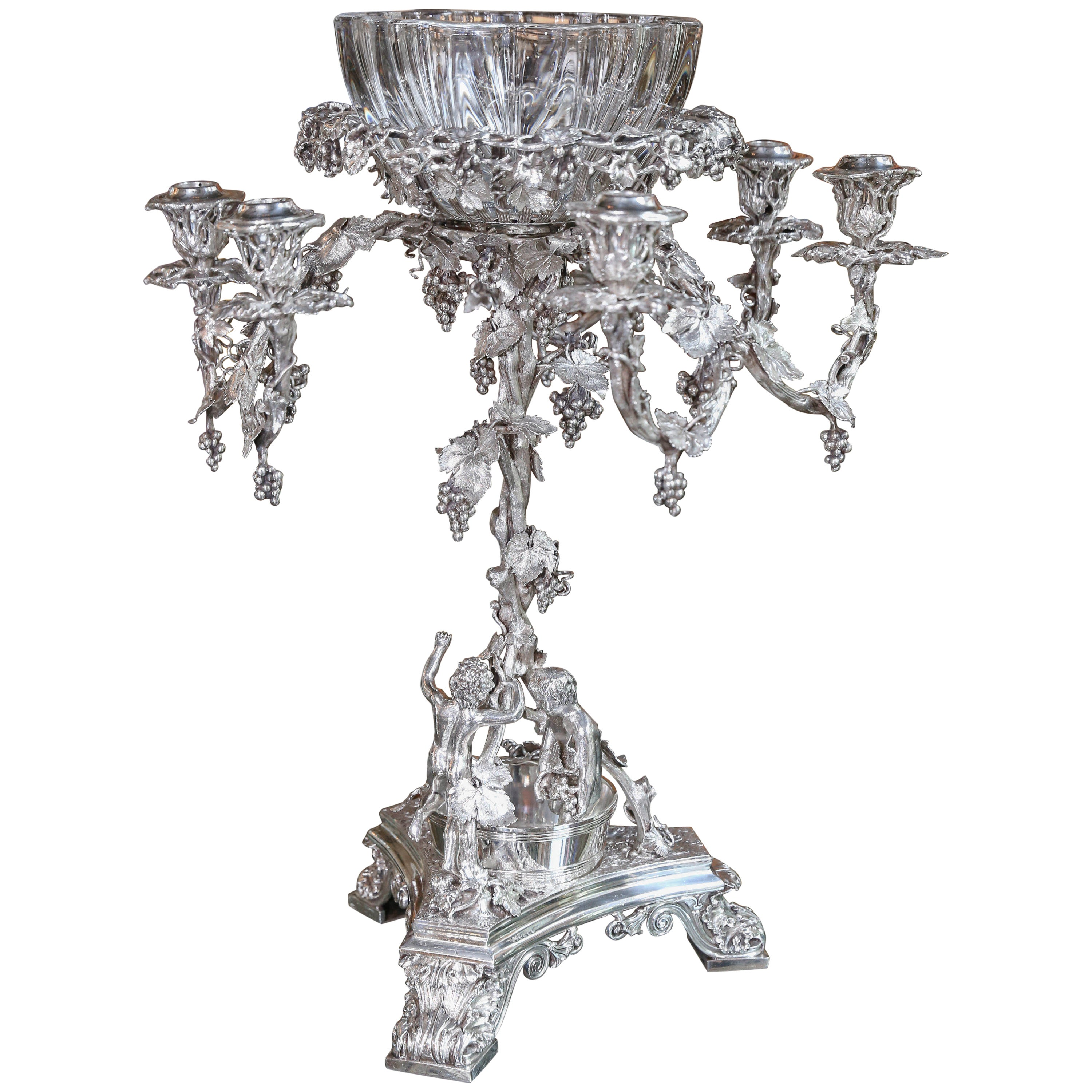 Monumental Very Fine English Silver Plated Epergne