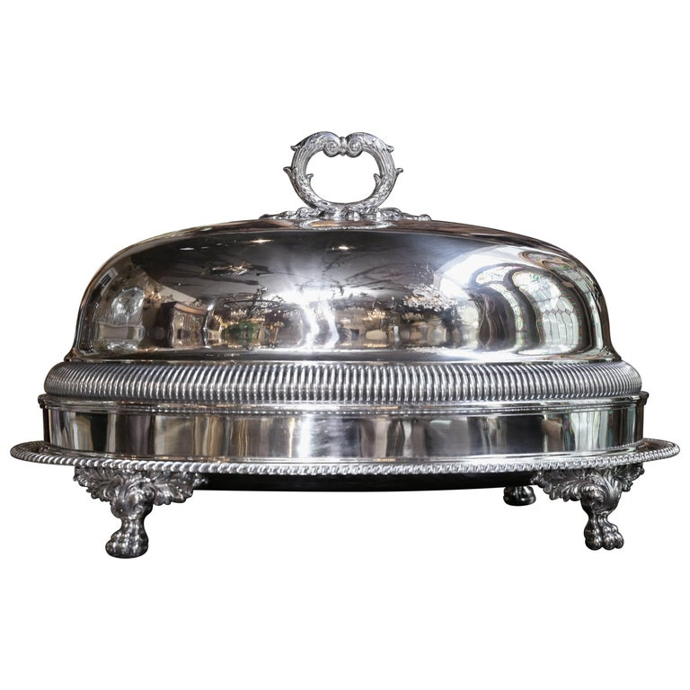 Sheffield Meat Dome and Tray by John Waterhouse, Hatfield Co, circa 1836 For Sale