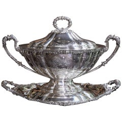Very Fine English Sheffield Silver Plated Covered Oval Bowl on Tray