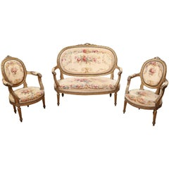 Louis XVI Style Three-Piece Settee Giltwood, 19th Century