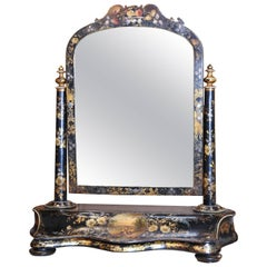 Papier-Mâché Adjustable Vanity Mirror with Drawer, 19th Century