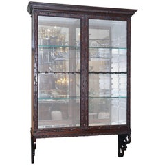 19th Century English Chippendale Style Mahogany Wall Hanging Display Cabinet
