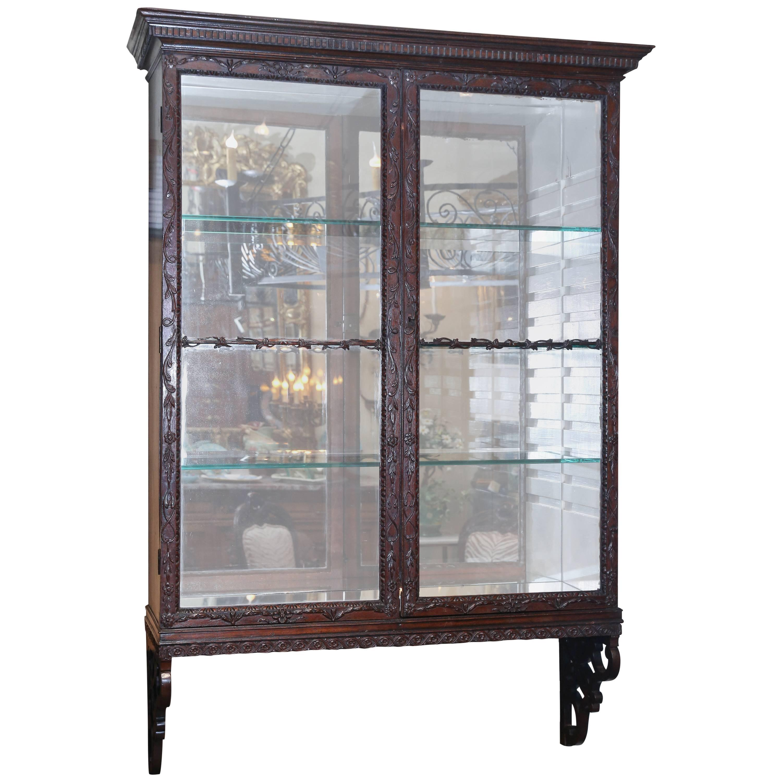 19th Century English Chippendale Style Mahogany Wall Hanging Display Cabinet  For Sale