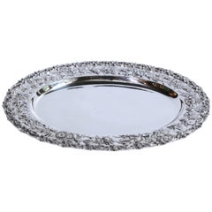 Oval Sterling Serving Tray by Kirk Stieff with Repousse Border