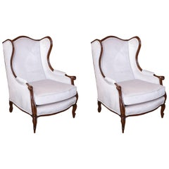 Pair of French Louis XV Style Wing Back Chairs, 20th Century