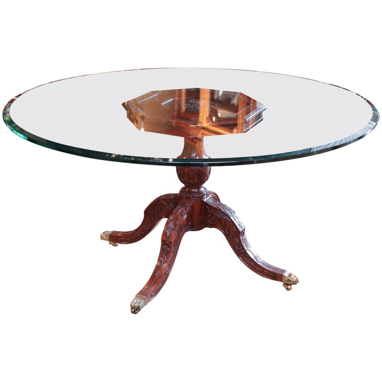Round Glass Top Dining Table With Mahogany Pedestal Carved Base For Sale