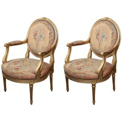 Pair of French Giltwood Louis XVI Chairs with Original Aubusson Upholstery