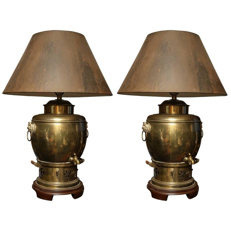 Pair of Chinese Brass Samovar Lamps