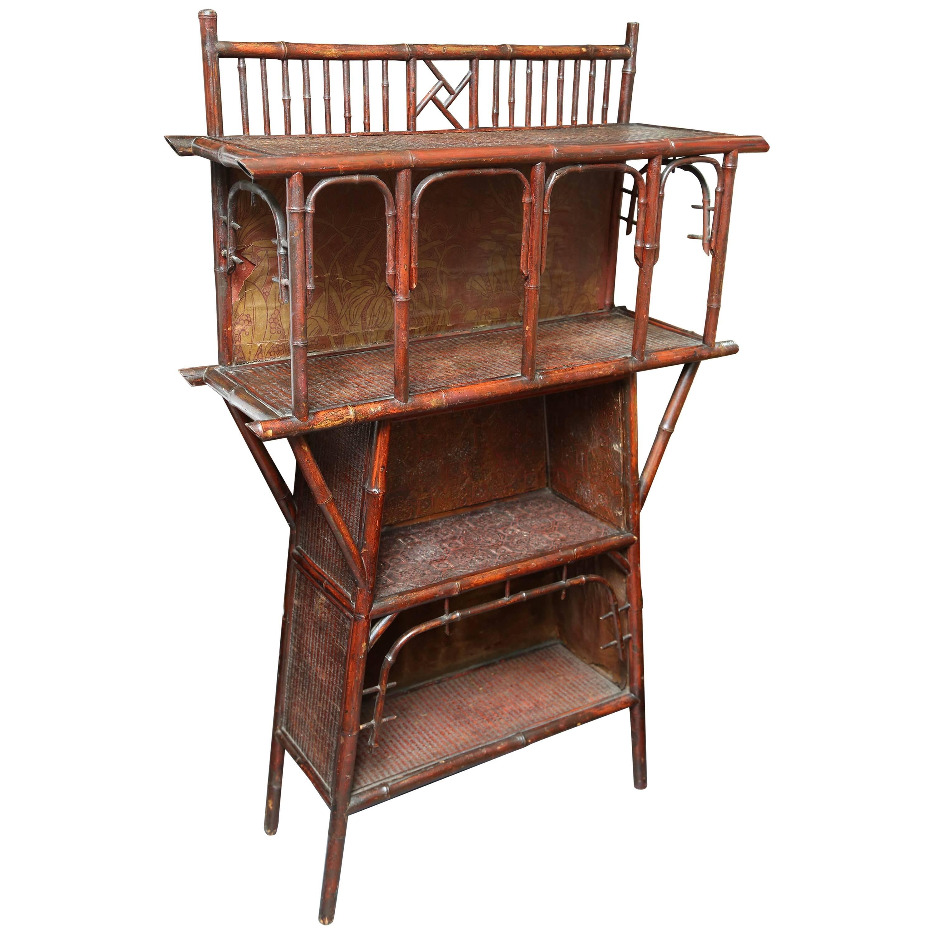 Superb Aesthetic Era Anglo Japanese Bamboo Bookcase