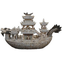 Large and Elaborate Imperial Boat Carved from Bone