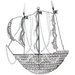 Whimsical Crystal and Metal Sailing Ship Chandelier