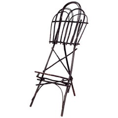 Rustic Adirondack Style Twig Hoop Shaped Easel Stand, 19th-20th Century