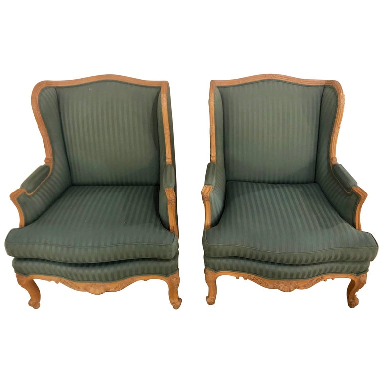 Pair of Louis XV Style High Back Lounge or Wing Chairs