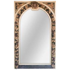 Antique Italian Carved and Polychromed Mirror, circa 1890