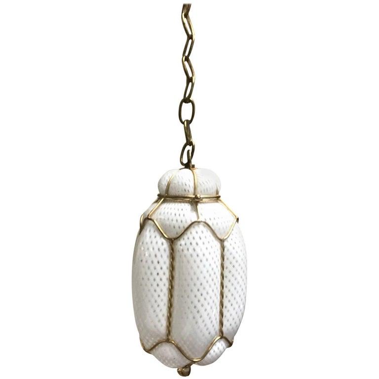 Seguso Murano Handblown Cage Light Pendant