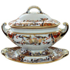 Antique English Davenport Ironstone Imari Large Soup Tureen and Stand
