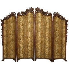 Rustic Black Forest 19th Century Walnut Floral Carved Four Fold Screen