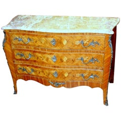Old French Louis XV Style Marquetry Inlaid Kingwood Marble-Top Commode