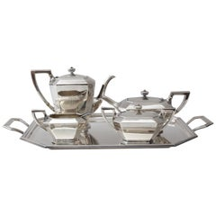 Art Deco Sterling Silver Five-Piece Coffee Tea Service by Black Star and Frost