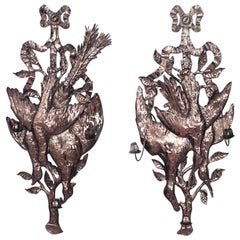 Rustic Continental German Style Brass Hammered Three-Arm Wall Sconces