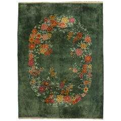 Antique Chinese Green Art Deco Rug with Traditional Chinoiserie Style