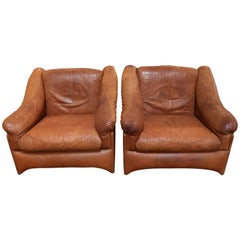 Pair of Valenti Leather Armchairs