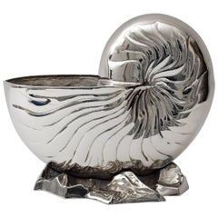 Nickel-Plated Nautilus Form Cache Pot