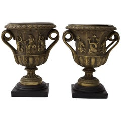 Pair of Bronze Urn-Form Vases