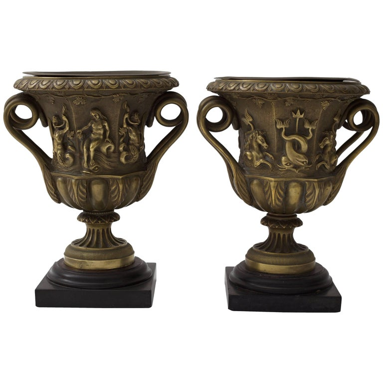 Pair of Bronze Urn-Form Vases  For Sale